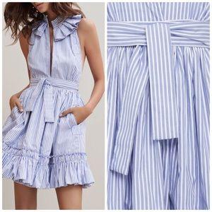 Alexis Briley Striped Ruffle Trim Dress Size Small